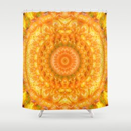 Orange Habanero Hot Peppers Mandala Fractal Design Shower Curtain