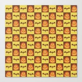 Checkered Halloween Pattern Canvas Print
