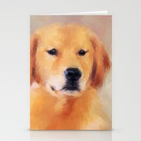 golden retriever Stationery Cards featuring Golden Retriever by Jai Johnson
