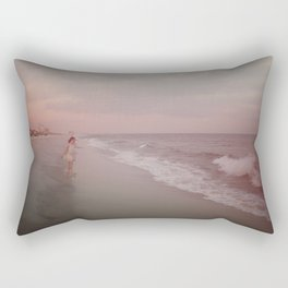 Girl On The Beach Rectangular Pillow