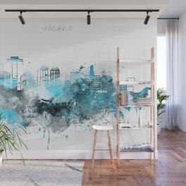 Halifax Canada Monochrome Blue Skyline Wall Mural