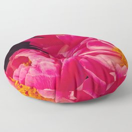 Hot Pink Peonies - Flower Photography Floor Pillow