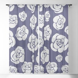 White roses on blue Sheer Curtain