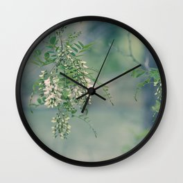 White Spring Blossoms Wall Clock