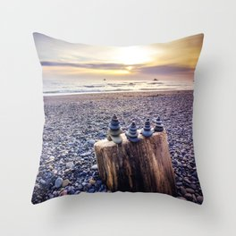 Stacked Rocks at Sunset Throw Pillow