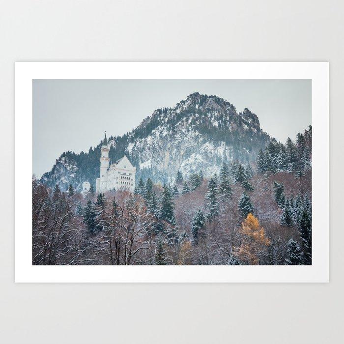 Neuschwanstein Castle with Bavarian Alps in background Art Print