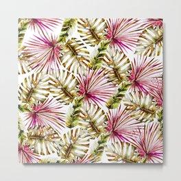 Modern tropical hot pink green watercolor palm tree Metal Print