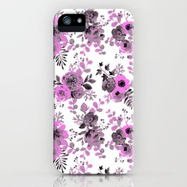 Abstract neon pink gray hand painted watercolor floral pattern iPhone Case