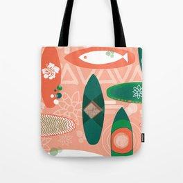 Surfboards pink orange coral green - Hawaiian print. Tote Bag