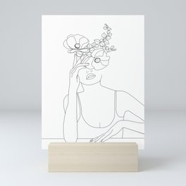 Minimal Line Art Woman with Flowers II Mini Art Print