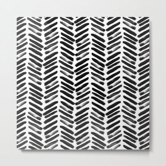 Simple black and white handrawn chevron - horizontal -  #Society6 Metal Print