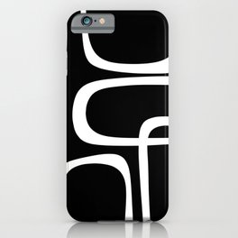 Midcentury Modern Loops Pattern in White and Black iPhone Case