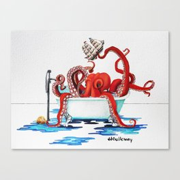 Bath Time Red Canvas Print