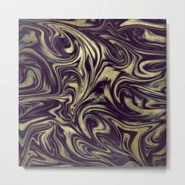 Digital Marble III - Ultra Violet +Gold Metal Print