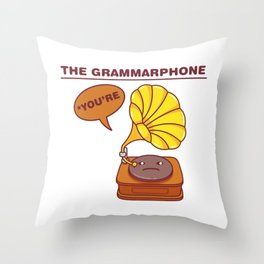 The Grammarphone - Funny Gramophone Wordplay Throw Pillow