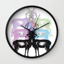 Colourful Deers Wall Clock