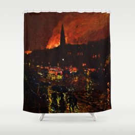 Classical Masterpiece 'Alarm Firelight - Boston' by Frederick Childe Hassam Shower Curtain