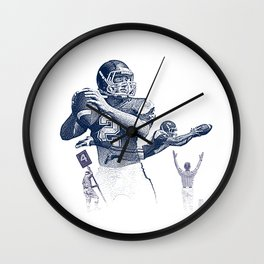 Quarterback throwing a touchdown pass. Wall Clock