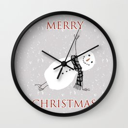 Snowman Yoga - Side Planck Wall Clock