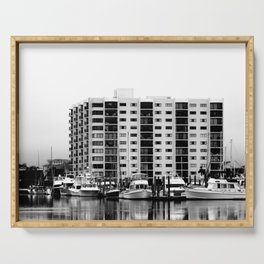 Waterfront Condos In Black & White Serving Tray