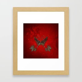Wonderful butterlies with flowers Framed Art Print