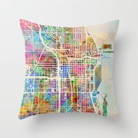 chicago map Throw Pillows featuring Chicago City Street Map by artPause