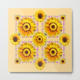 CREAM COLOR WESTERN STYLE YELLOW SUNFLOWERS Metal Print