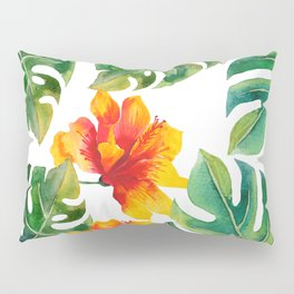 Monstera And Hibiscus Pillow Sham