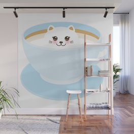 Cute Kawai cat in blue cup Wall Mural