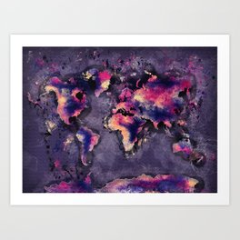 world map 108 #worldmap #world #map Art Print