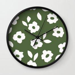 Simple Hand Cut Floral | Green Wall Clock