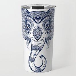 Bohemian Elephant Tribal Boho Gradient Blue Travel Mug