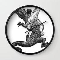 wrestling Wall Clocks featuring Crocodile wrestling! by Noughton
