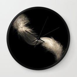 Two feathers in black and white Wall Clock