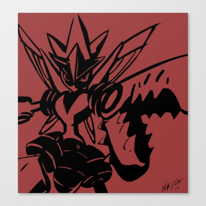 Black Line Drawing On Mega Scizor Red Canvas Print By Christopherjkeetch