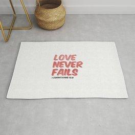Love Never Fails - 1 Corinthians 13:8 Rug