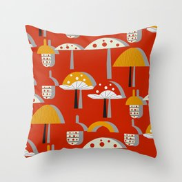 Mushrooms and acorns Throw Pillow