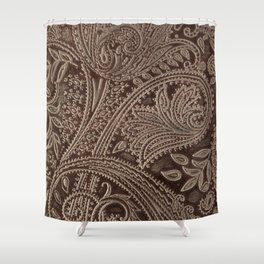Cocoa Brown Tooled Leather Shower Curtain