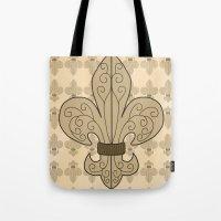 fleur de lis Tote Bags featuring Fleur de Lis by eMJay Digital Art