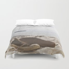 Dream of summer Lonely shoes at the Beach- Summer day- #Society6 Duvet Cover