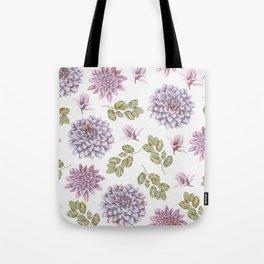Lavender Rose Garden Floral Pattern Tote Bag