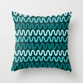 Bold Teal Waves Throw Pillow