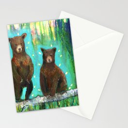 Twin Cubs at Dawn Stationery Cards