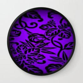 Deep Purple Japanese Leaf Design Wall Clock