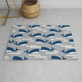 Whales nautical ocean theme grey kids room nursery boys or girls decor Rug