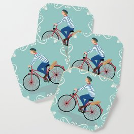 Vintage Style Frenchman on a Bicycle with Baguette Art Print Coaster