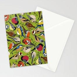 winter garden birds lime Stationery Cards