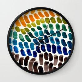 Colorful Rainbow Watercolor Organic Patterns Natural Shapes Playful Art Mid Century Modern Tribal Ar Wall Clock