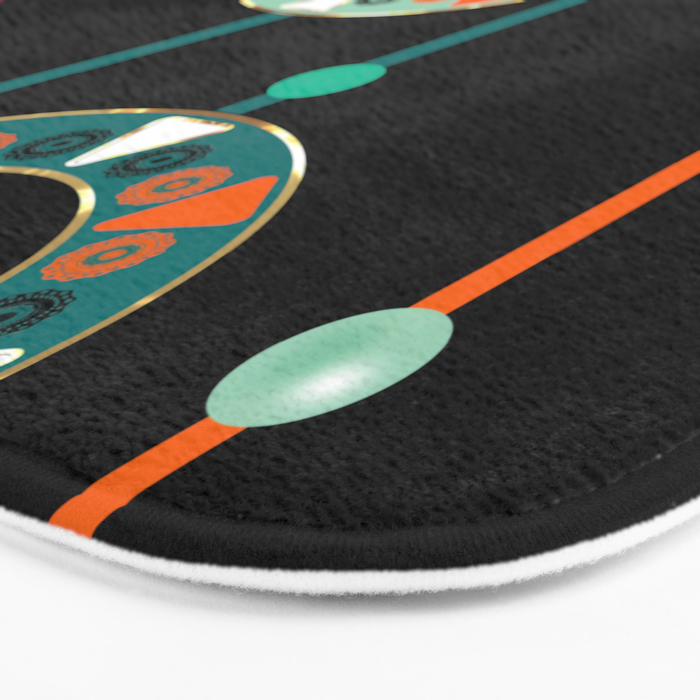 Abstract folk african pattern. Multi-colored circles rings. Bath Mat