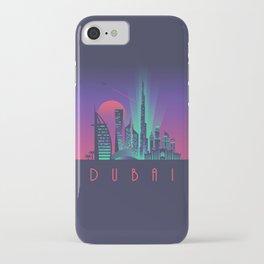Dubai City Skyline Retro Art Deco Tourism - Night iPhone Case